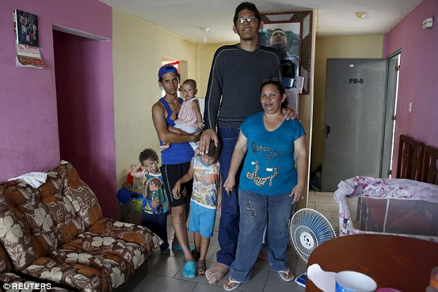 Family home: When Jeison turned 10, his feet suddenly grew from a size 5.5 to a size 11 in less than a year