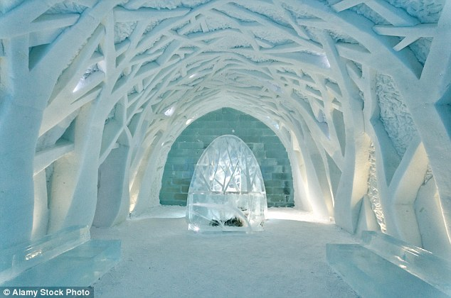 The spectacular frozen property is open seasonally, from December through to March when it begins to melt away