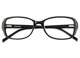 A pair of diamante-detail black frames for Specsavers from Twiggy's new line