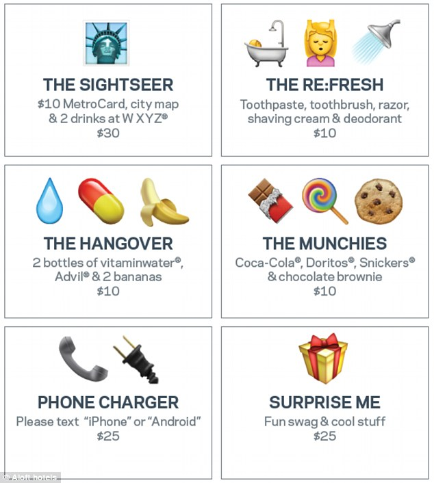The hotel began offering the services - that will be available if ordered by emoji - this morning in Manhattan