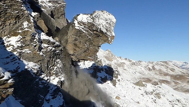 2,000 cubic metres of solid rock that fell caused an avalanche on the mountain of Mel de la Niva