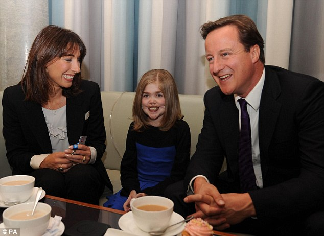 'An inspirational young woman': Kirsty is pictured in 2009 with the Prime Minister and his wife, Samantha