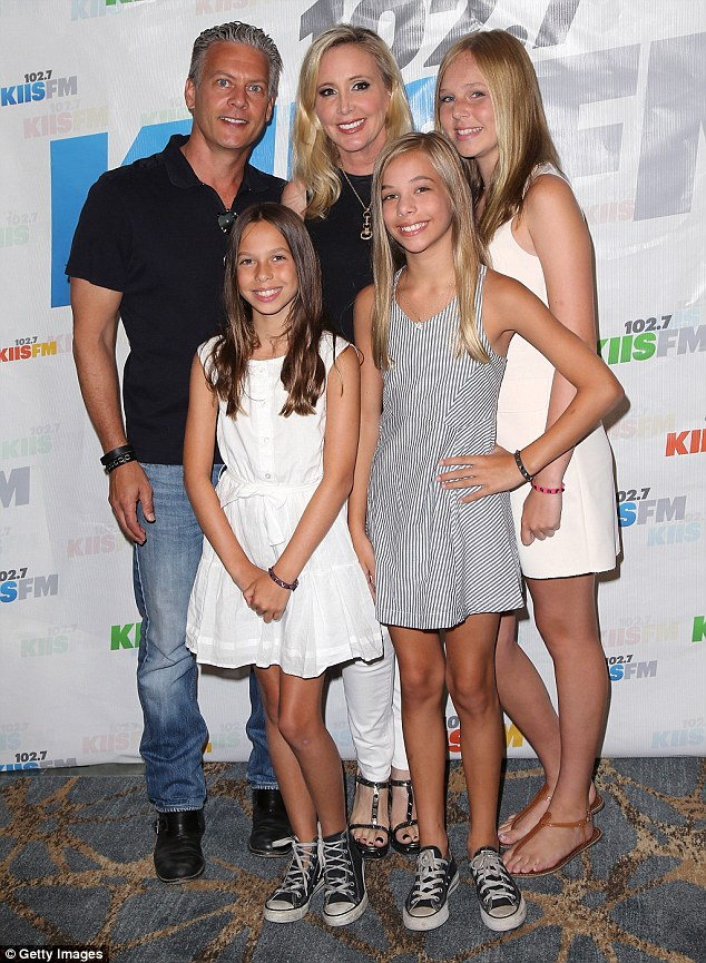 Back together for the kids: Shannon, David and their daughters Stella, Sophie and Adeline are pictured attending a celebrity event in LA in August