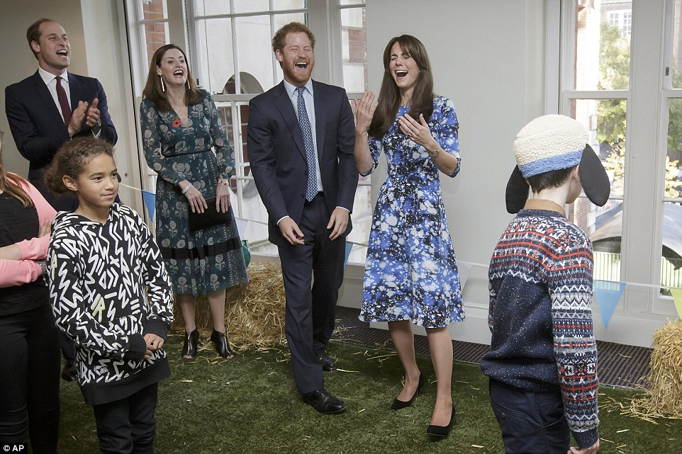 The trio joined children from several of the charities they support to enjoy the premiere of the new film by British animators Aardman, Shaun the Sheep: The Farmer's Llamas and were left in stitches by each other's efforts