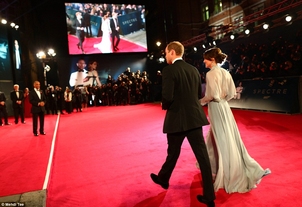 Kate Middleton and Prince William with Prince Harry walk red carpet for world premiere of latest James Bond film Spectre in London