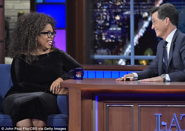 Oprah (pictured on the Late Show) said that she has not spoken to Mitchell since he quit the private boarding she had enrolled him in more than 20 years ago