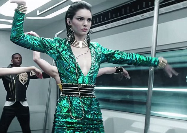 Get into the groove: Kendall Jenner, 19, shows off her dancing skills in the new music video campaign new music for Balmain's H&M collaboration, which is due to launch in stores in early November