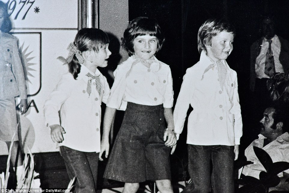 The way she was: A picture taken during a child fashion show shows Melania Knavs in the center with her friend Nena Bedek. The two, and other children, would take part in fashion shows organized by their parents