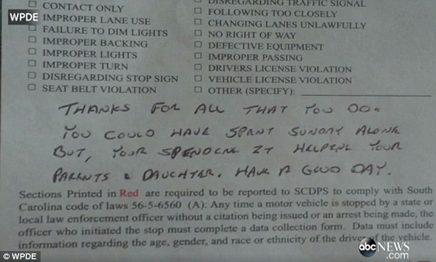 Sgt Steven Church gives speeding Ayla Hemeon 'thank you