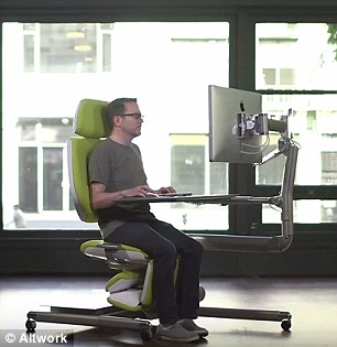 comfortable office chairs for gaming wheelchair companies flexible altwork station lets you sit, stand and even lie down as type | daily mail online