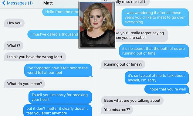 Woman pranks her ex with the lyrics to Adele's Hello and posts the exchange on Twitter