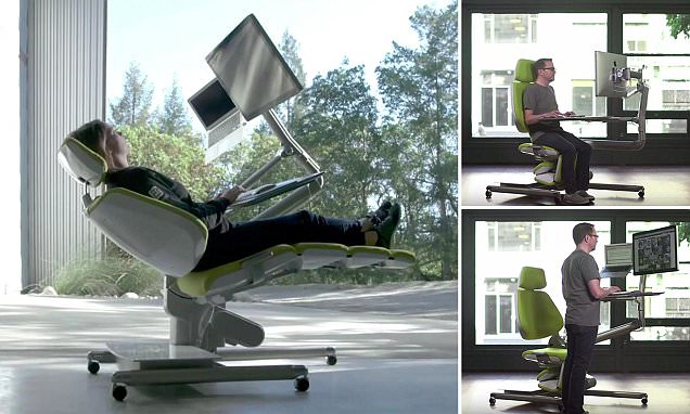 reclining gaming chair blue counter height chairs flexible altwork station lets you sit, stand and even lie down as type | daily mail online