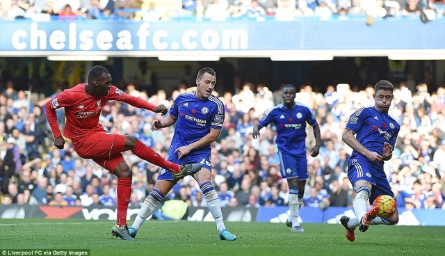 Chelsea's backline was once again undone by this shot from Christian Benteke, who fired in Liverpool's third at Stamford Bridge