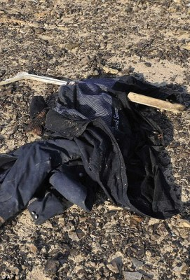 Tragic: It comes as Egypt has recovered the aircraft's black box from the tail of the plane. Above, an item of clothing lies at the crash site