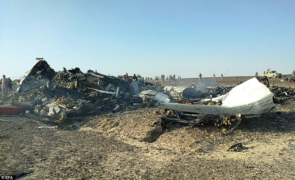 Fatal disaster: Yesterday afternoon, German airline Lufthansa said they will no longer fly over the Sinai peninsula 'as long as the cause for [the] crash has not been clarified'. Air France later said the same. Above, debris from the crashed jet is pictured in the Sinai desert