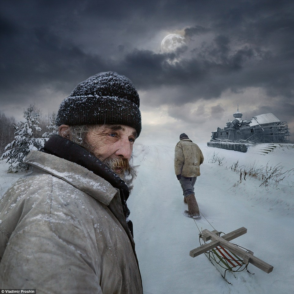 Open colour - Honourable mention: Way by Vladimir Proshin. This is the author's most beloved photograph taken in the village of Kantaurovo in the central area of Russia. It represents a person who does not work and lives only by donations. The picture is the reflection of man's destiny, his choice of spiritual life and what a man can reach despite a total lack of money