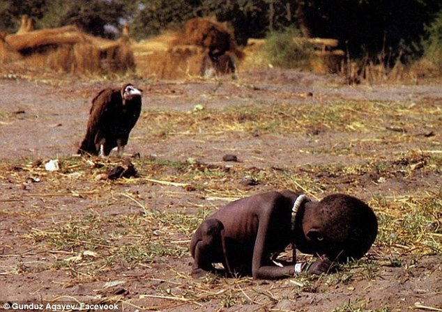 Perspective:Gunduz re-imagines Kevin Carter's Pulitzer Prize-winning photo, 'The Vulture and the Little Girl' (above), which the photojournalist took during the famine in Sudan in 1993