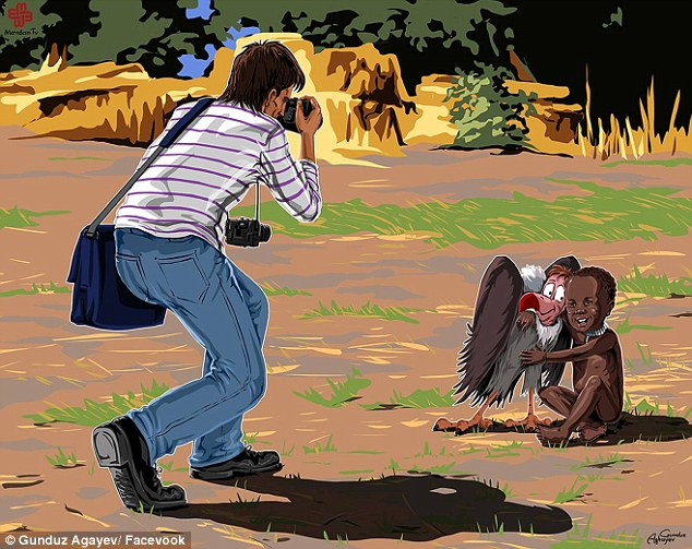Happy: The artist drew the little girl cheerfully embracing the bird as photographer Kevin Carter snaps the picture. In the real version, the vulture waits for the child to die so it can eat her