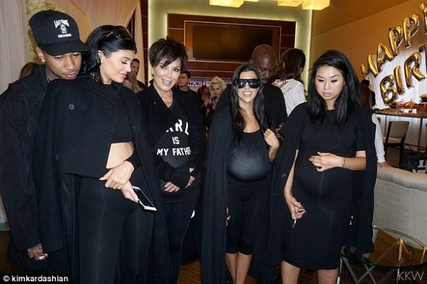 The co-stars:Also at the party were Kris as well as Kendall, Kylie (with Tyga) and Kourtney. The guests were allowed to try on fake bumps