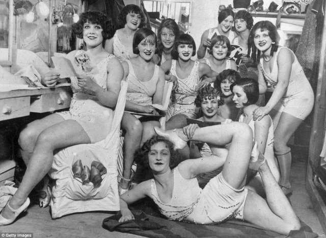 The Hoffman Girls backstage pose smiling backstage before appearing in front of crowds at the Moulin Rouge in Paris on February 19, 1924