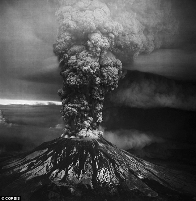 They said a series of distinct earthquakes in the months leading up to the massive eruption on 18 May 1980 (picutred), which killed 57 people, may have been caused by the pumping of magma from the lower to the upper chamber. Using seismometers, the experts reconstructed up to 24 miles (40km) beneath the volcano