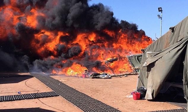 Several tents at the RAF base in Dhekelia, near Larnaka were set alight amid disturbances