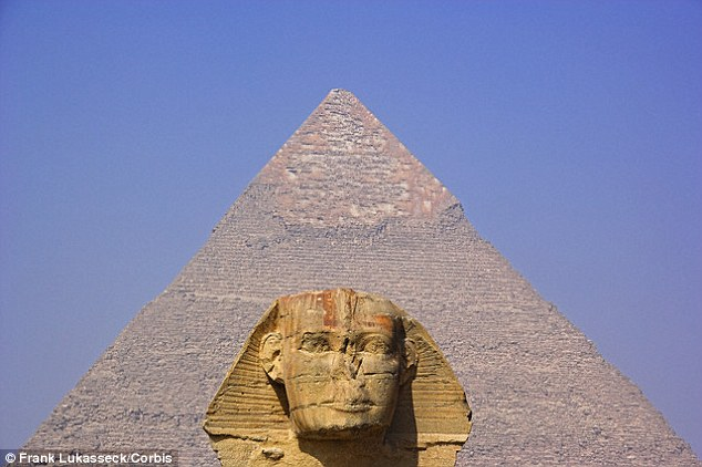 Experts are scanning the Khufu pyramid of Giza (stock image pictured with a Sphinx in the foreground) and the Khafre pyramid as well as two pyramids in Dahshur, all of which are south of Cairo.Khufu was built by the son of Snefru, founder of the fourth dynasty, who lived between 2,575 and 2,465 BC