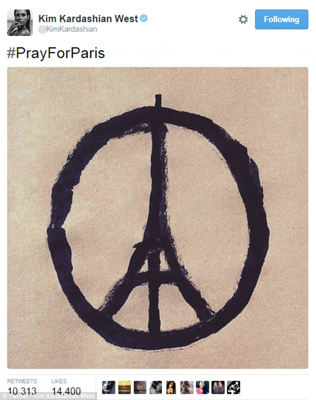 Celebrities have taken to Twitter to express their love and support for Paris after a series of horrifying attacks that killed more than 150 people have shocked the entire world
