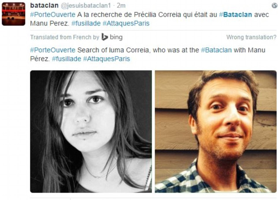 Distraught family have launched a desperate search for loved ones feared dead in the ISIS Paris massacre includingPrecilla Correia and Manu Perez (above) who were watching a heavy metal gig at the Bataclan concert hall when gunman slaughtered up to 80 fans