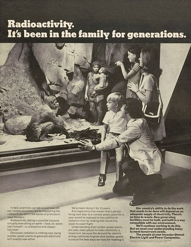 Radioactivity was portrayed as modern and exciting in the 1950s, with ads hailing products such as radioactive toothpaste and an X-ray machine to size children's feet