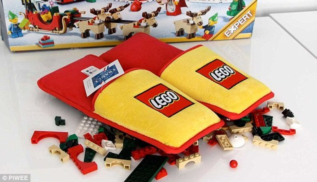 The extra-padded slipper will protect parents' feet against the tiny Lego bricks which otherwise cause pain when trodden on