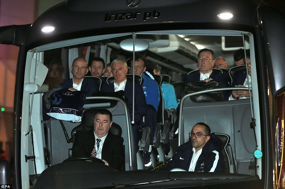 The French team bus arrives at Wembley for their game against England that was under threat of being cancelled after the Paris attacks