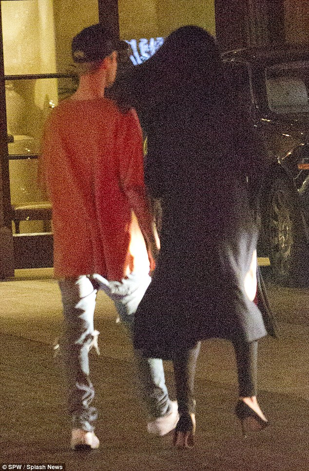 Wooed: The sighting comes shortly after Justin was filmed serenading her in a luxury LA hotel bar on Friday