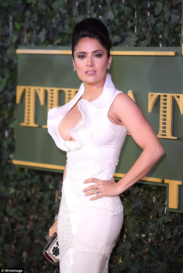 Salma Hayek wears cleavage