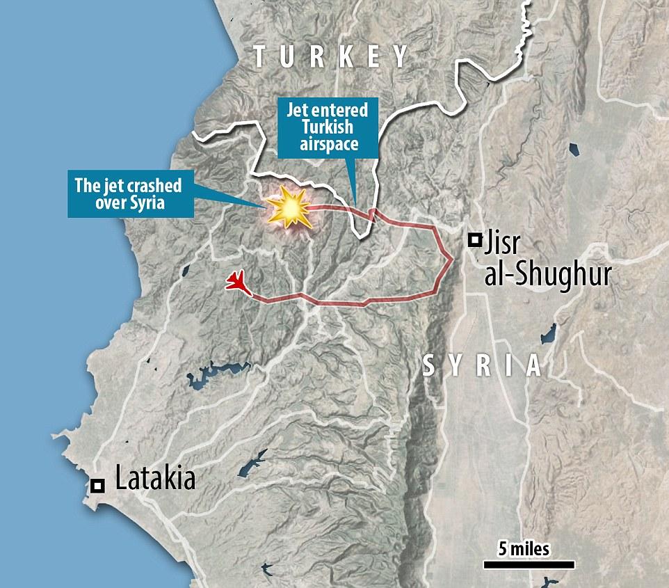 Vuelo: Este mapa muestra la ruta del chorro de Rusia (en rojo), en base a los datos publicados por el gobierno turco, incluidos los casos en que violó el espacio aéreo turco, y el área en las montañas turcomanos donde se estrelló