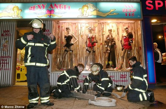 The man had been watching the porn film at a shop called SexyAngel, pictured, located on Hamburg's Reeperbahn, known as the 'square mile of sin'
