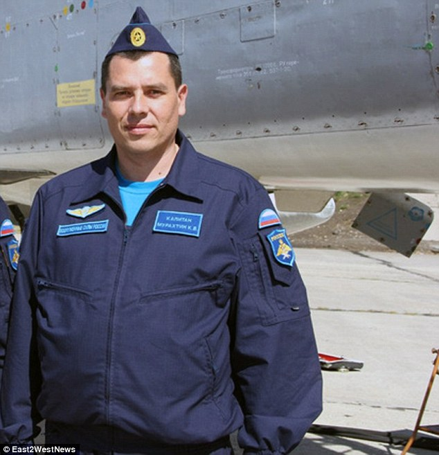Saved: Captain Konstantin Murahtin was one of the two pilots of the Russian fighter jet shot down by Turkish F16 pilots near the Syrian border on Tuesday