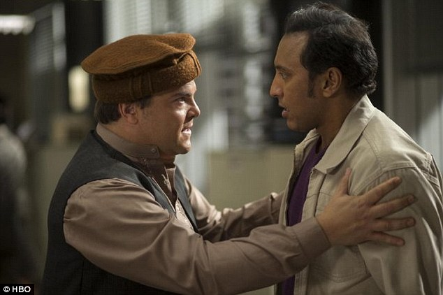 Slammed: According to a report by NBC news , the political comedy was slammed by native critics who said the show 'portrayed the country in a negative and one-dimensional way'. Black is pictured here with Aasif Mandvi, an Indian actor cast in the only main Pakistani role, which irked some.
