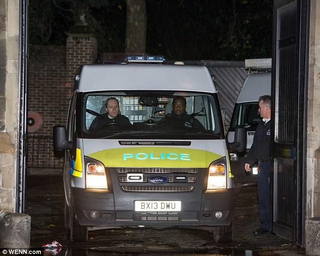 The demonstration came to a dramatic end at about 11pm last night – after more than eight hours – when Mr Matthews and Mr Smith were arrested on suspicion of trespassing on a protected site. Pictured: Police on site