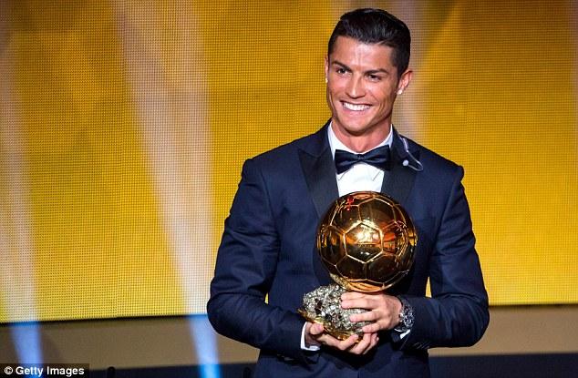 Image result for cristiano ronaldo hold ballon d'or