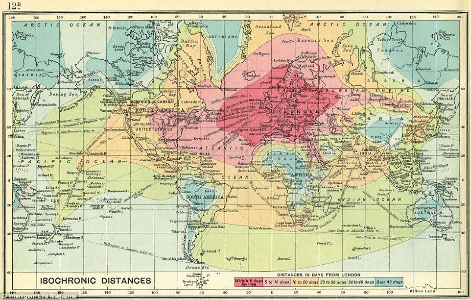 Pictured is the map from 1914. Rome2rio created the present day map by bringing together data about 750,000 travel routes from 4,800 operators in 144 countries. Both maps are colorfully grouped into different sections of the world by their distance from London, distinguished by how many days it would take to get there