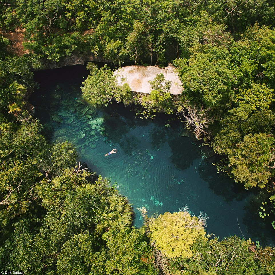 Dallas now features a drone image or video every single day and has a website of the same name. There is even some of his own captures such as this incredible image of a swimming in a crystal clear pool