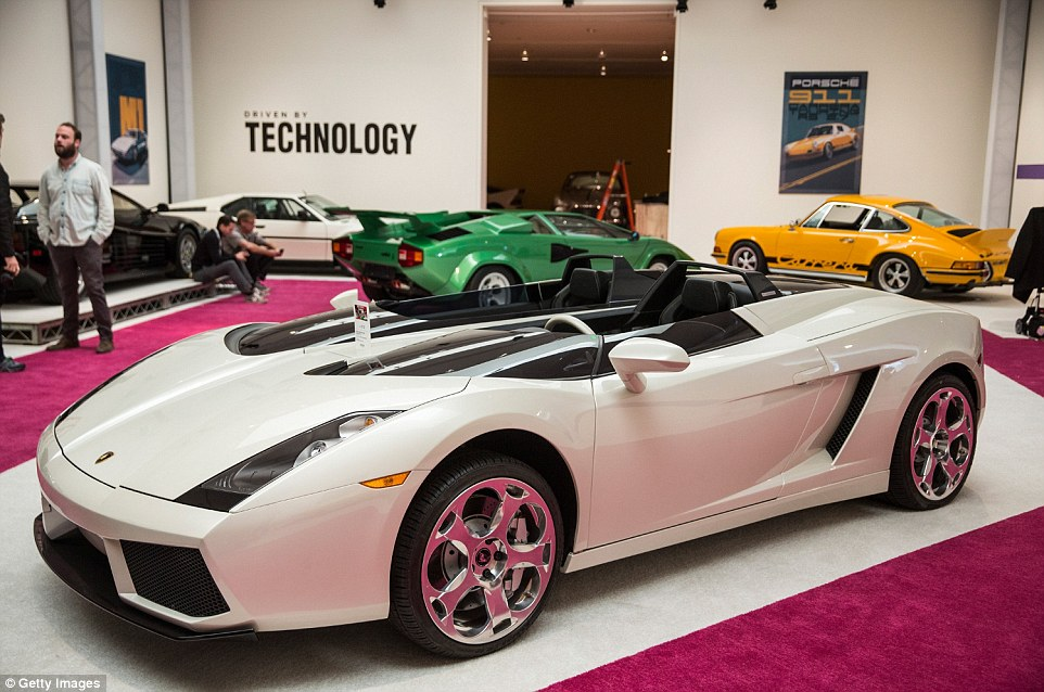 A 2006 Lamborghini Concept S is shown on display ahead of the auctioning off of 30 vehicles spanning 70 years in automotive innovation