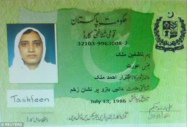 Relatives of San Berandino massacre shooter Tashfeen Malik said that the Pakistan-born woman used to wear Western dress but started wearing more conservative Muslim clothes three years ago. Above, a Pakistan identification card for Malik