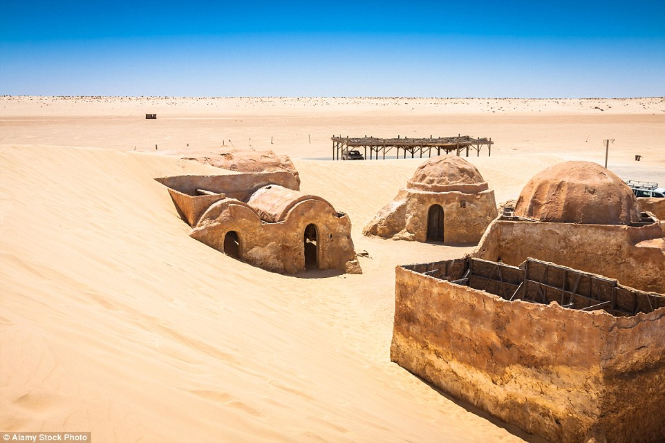 In the films, Tatooine is a scorching planet warmed by two suns - making the unforgiving Tunisian desert the perfect place to film