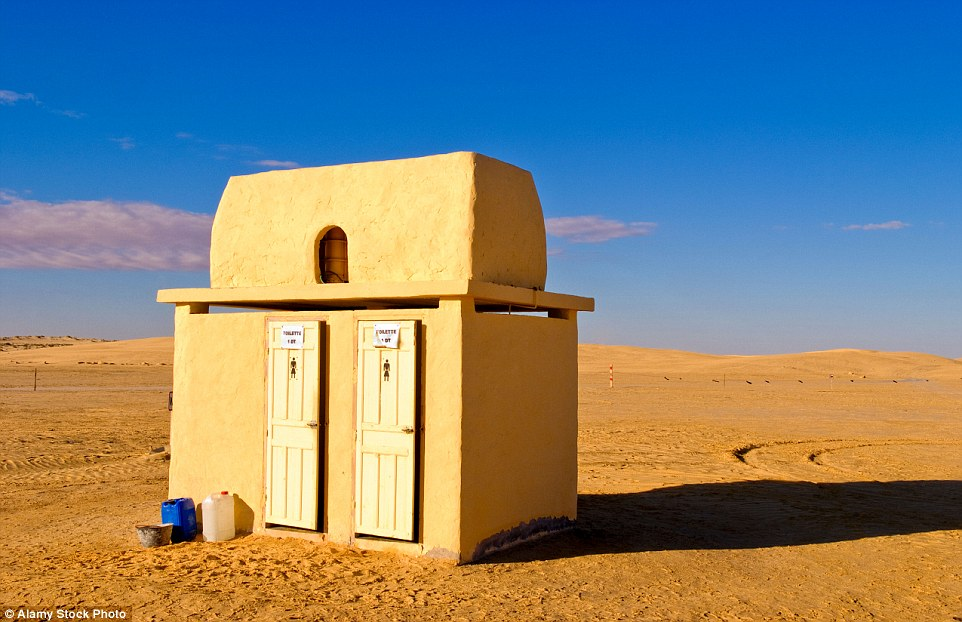 These toilets are literally in the middle of nowhere, as the Star Wars sets once surrounding were taken away or destroyed