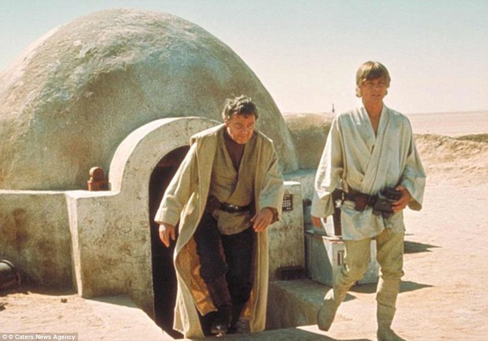 And here is Luke Skywalker pictured with his uncle coming out of their house in 1977's Star Wars, still available to see today