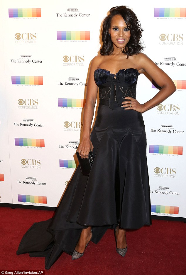 Beautiful in black and blue: Kerry Washington hit a high note in her strapless Marchesa dress at the Kennedy Center Honors Gala in Washington, D.C. on Sunday