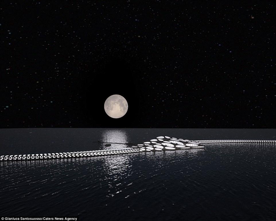 Τη νύχτα, η επιπλέουσα δομή θα μοιάζουν περισσότερο με ένα διαστημόπλοιο, ενώ φωτίζεται από το φεγγάρι και το νυχτερινό ουρανό