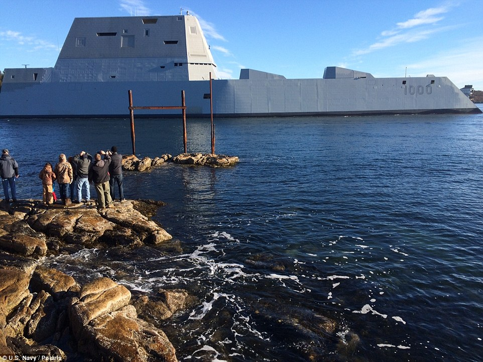 Futuristic: Resembling a 19th century ironclad warship the, USS Zumwalt uses a 21st century version of a 'tumblehome' hull